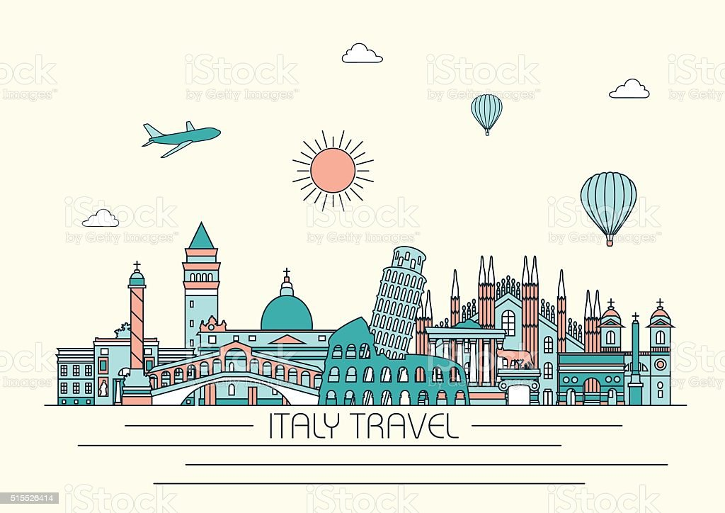 Italy detailed skyline. Vector background. line illustration. Line art style vector art illustration