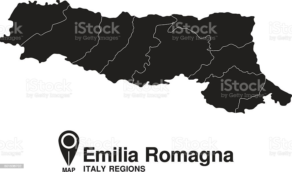 Italy Emilia Romagna map vector art illustration