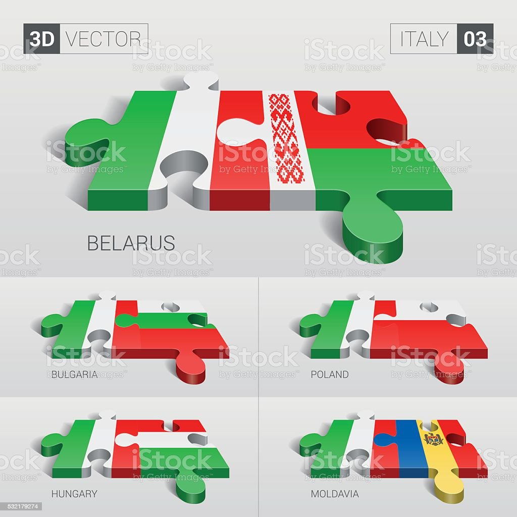 Italy Flag. 3d vector puzzle. Set 03. vector art illustration