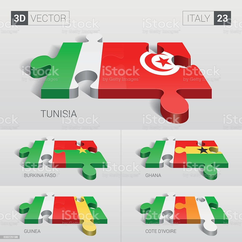 Italy Flag. 3d vector puzzle. Set 23. vector art illustration