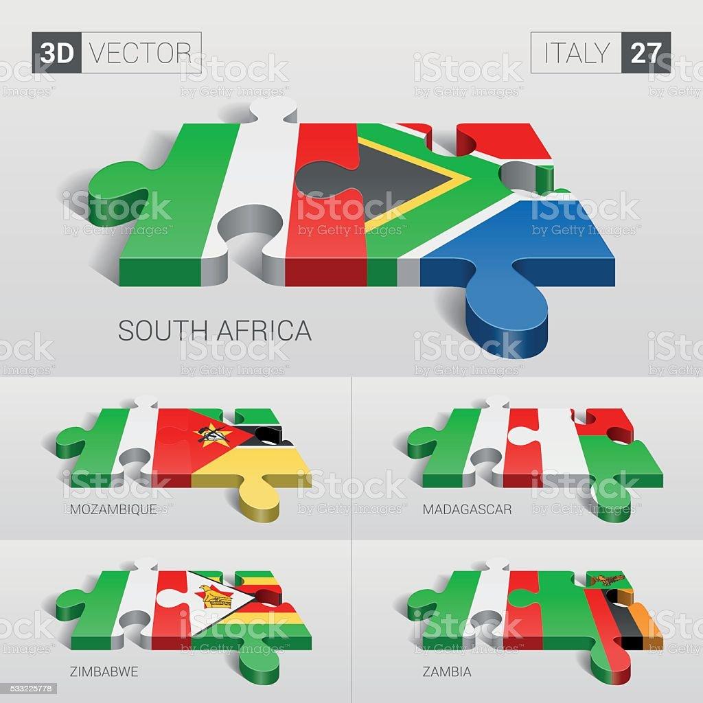 Italy Flag. 3d vector puzzle. Set 27. vector art illustration