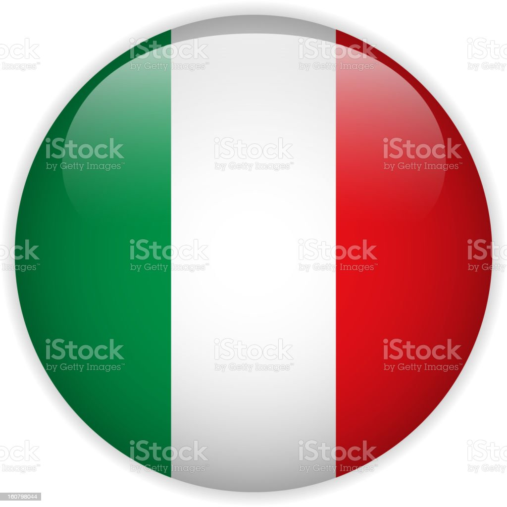 Italy Flag Glossy Button vector art illustration