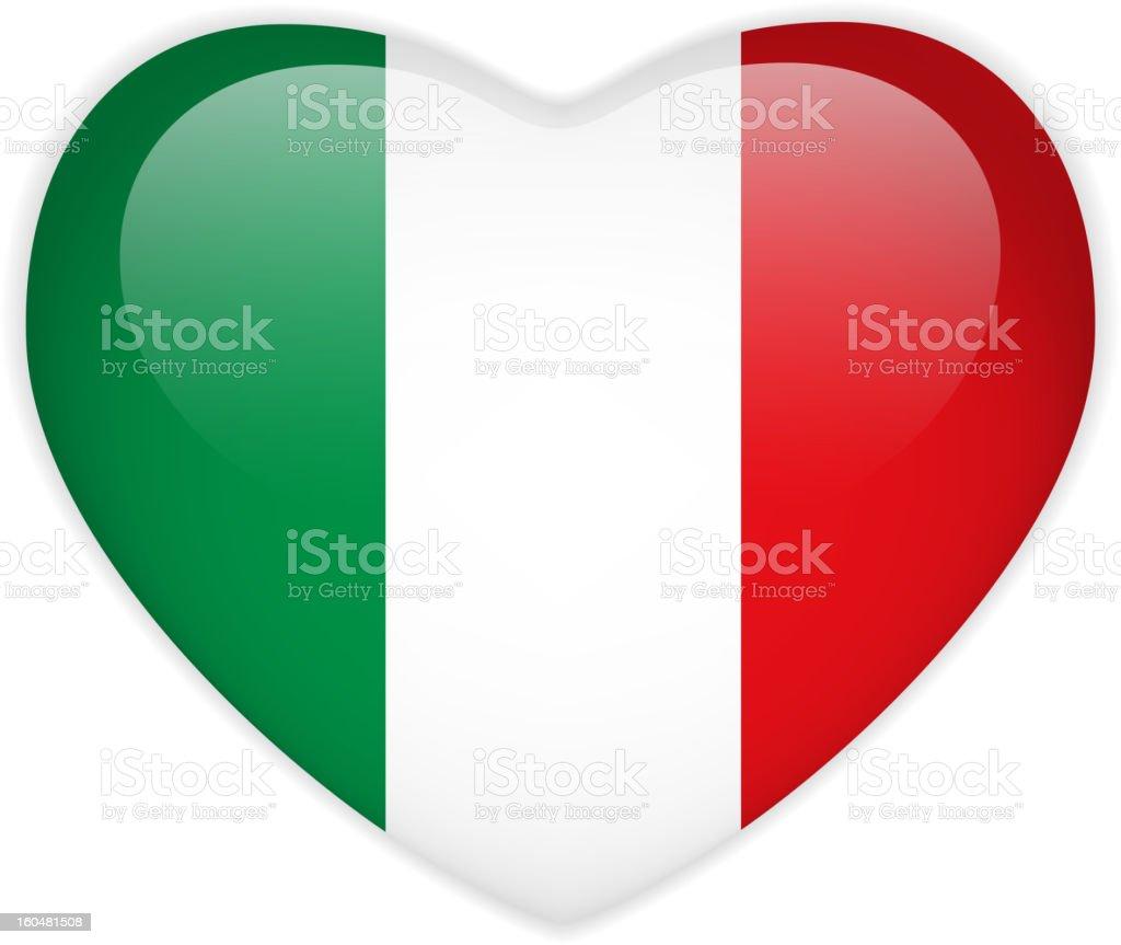 Italy Flag Heart Glossy Button vector art illustration