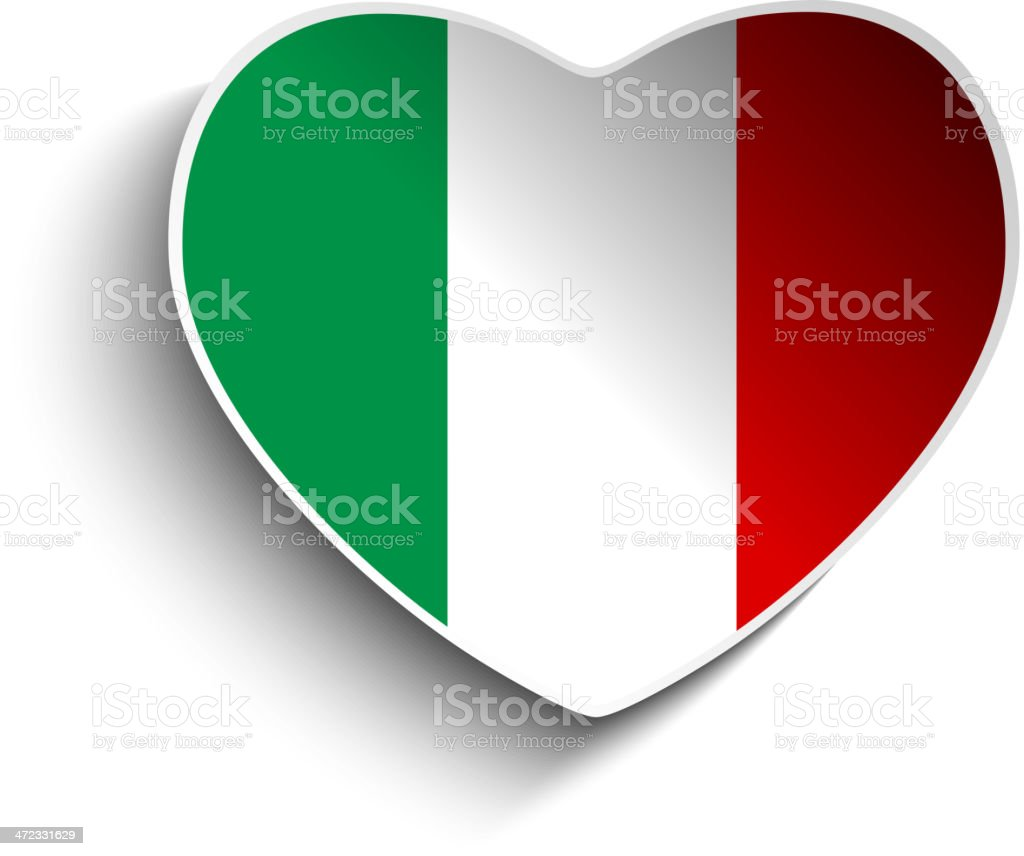 Italy Flag Heart Paper Button royalty-free stock vector art