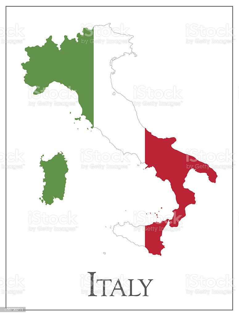 Italy flag map royalty-free stock vector art