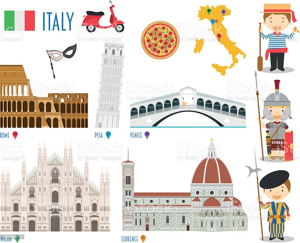 Italy Flat Icon Set Travel and tourism concept. Vector illustration vector art illustration