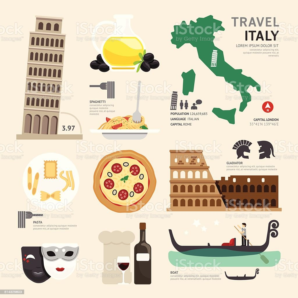 Italy Flat Icons Design Travel Concept.Vector vector art illustration