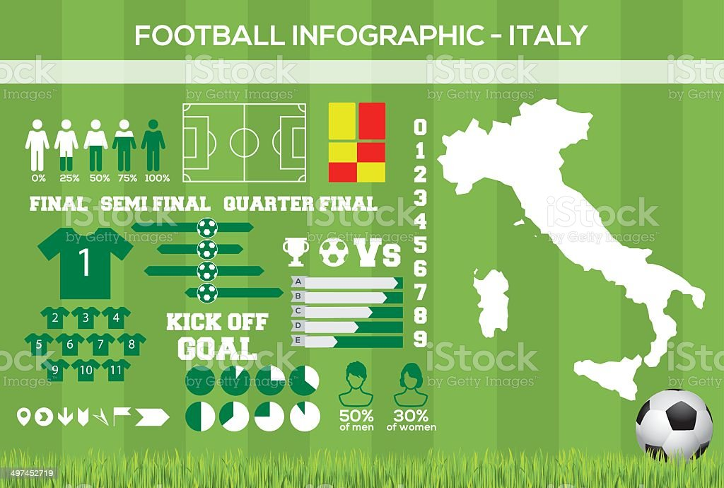 Italy Football Infographic vector art illustration