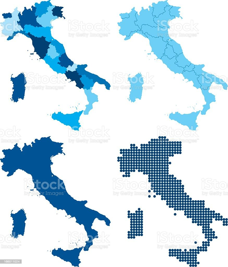 Italy four different blue maps vector art illustration