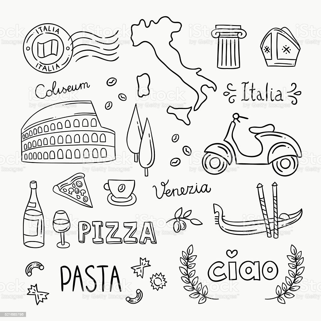 Italy hand drawn icons and vector illustrations vector art illustration
