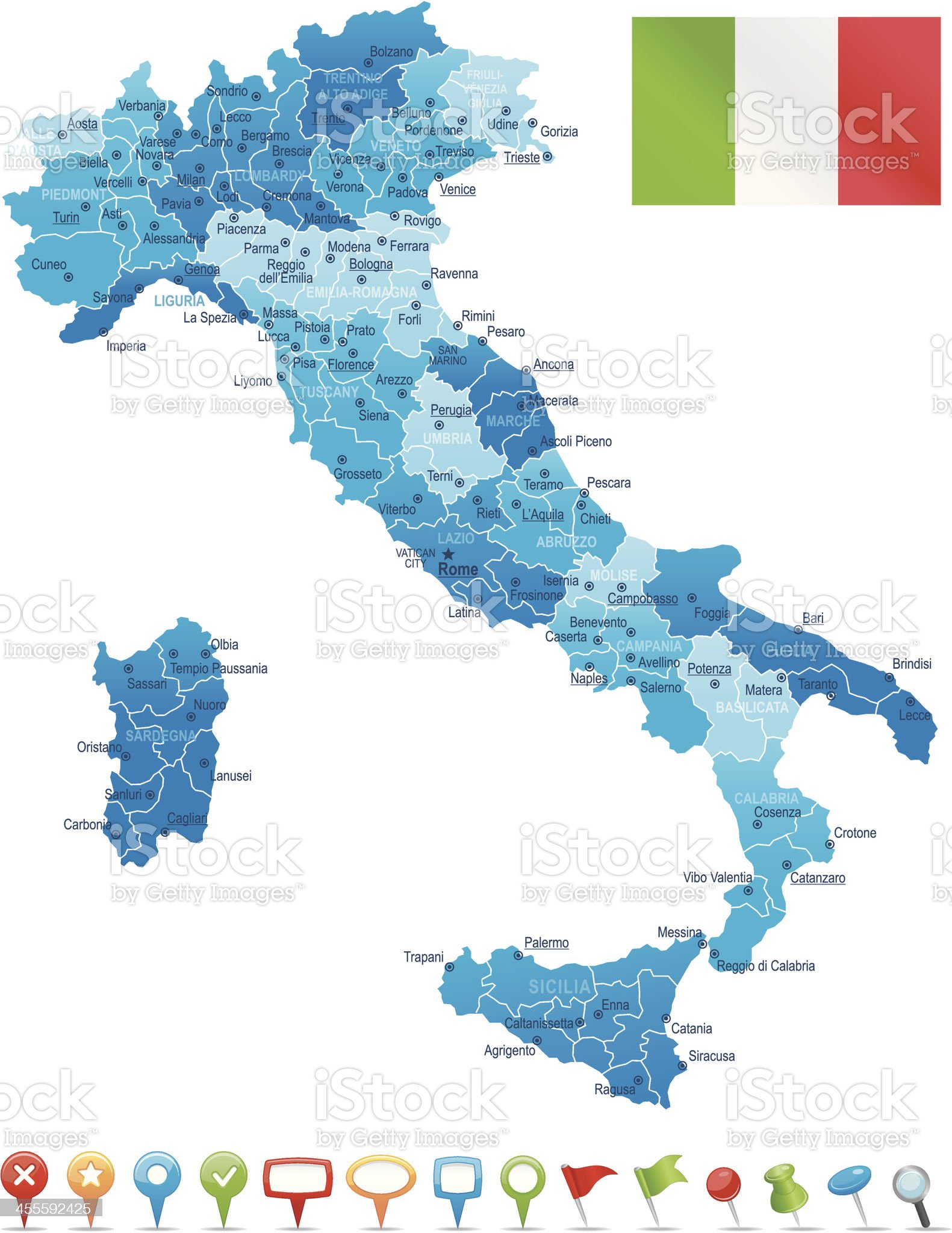 Italy - highly detailed map royalty-free stock vector art