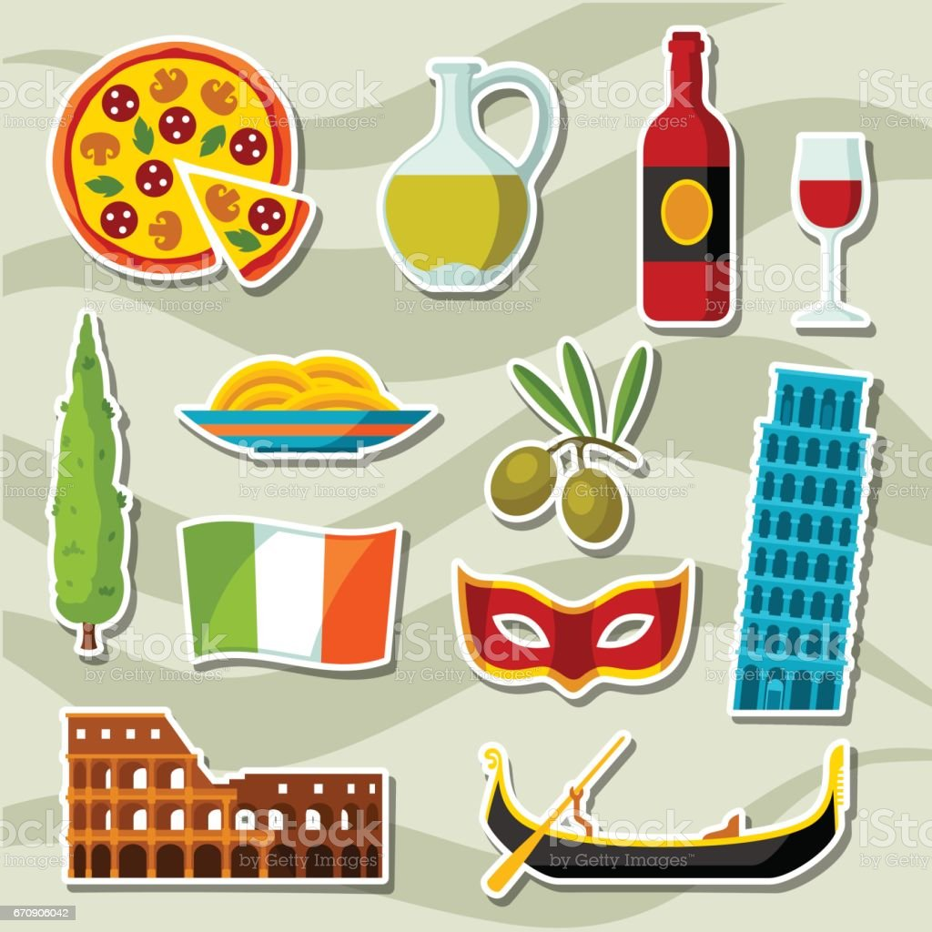 Italy icons set. Italian sticker symbols and objects vector art illustration