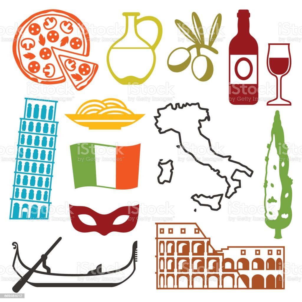 Italy icons set. Italian symbols and objects vector art illustration