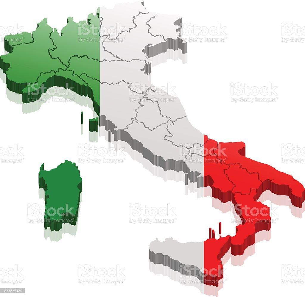 italy map 3d vector art illustration