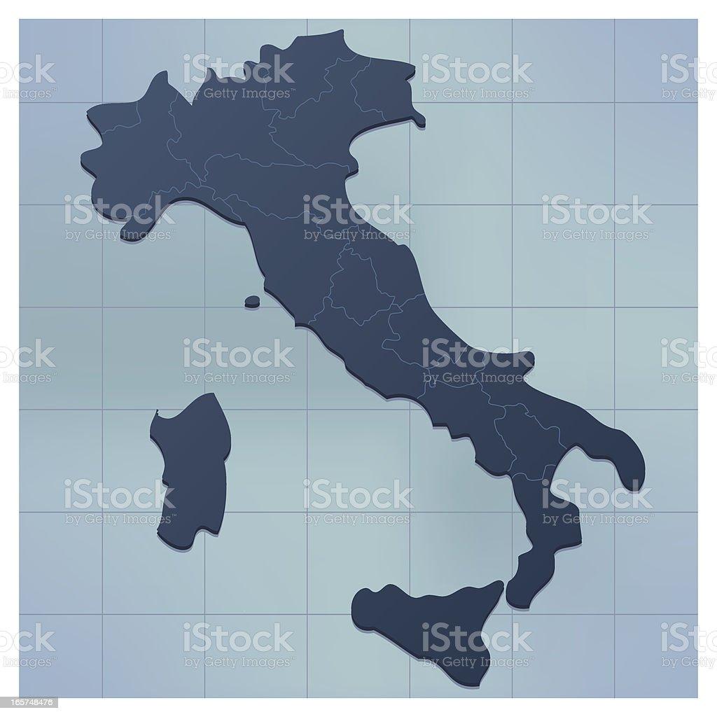 Italy map darkblue vector art illustration