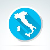 Italy map icon, Flat Design, Long Shadow