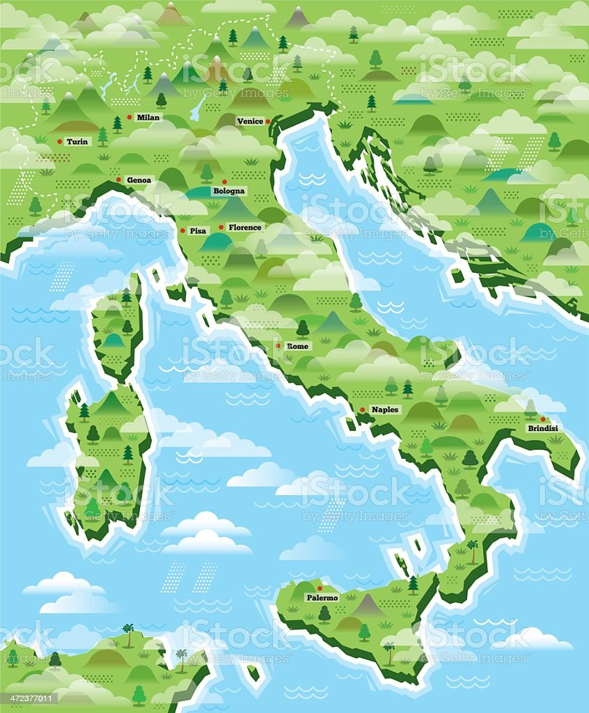 Italy map illustrated vector art illustration