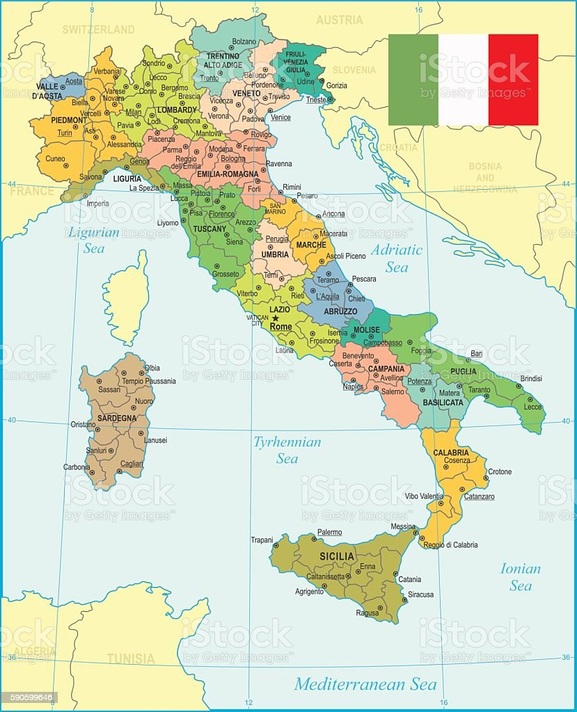 Italy Map - illustration vector art illustration