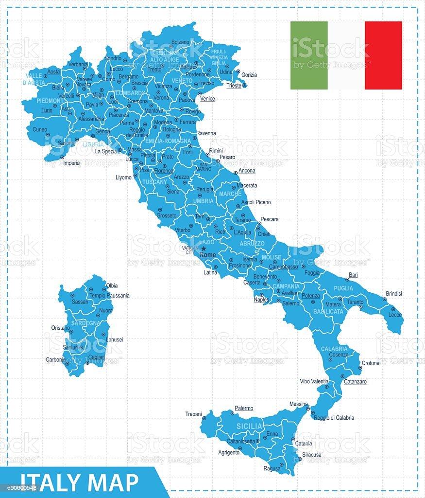 Italy Map - Illustration vector art illustration