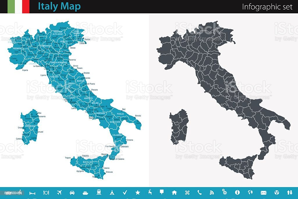 Italy Map - Infographic Set vector art illustration