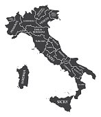 Italy Map labelled black