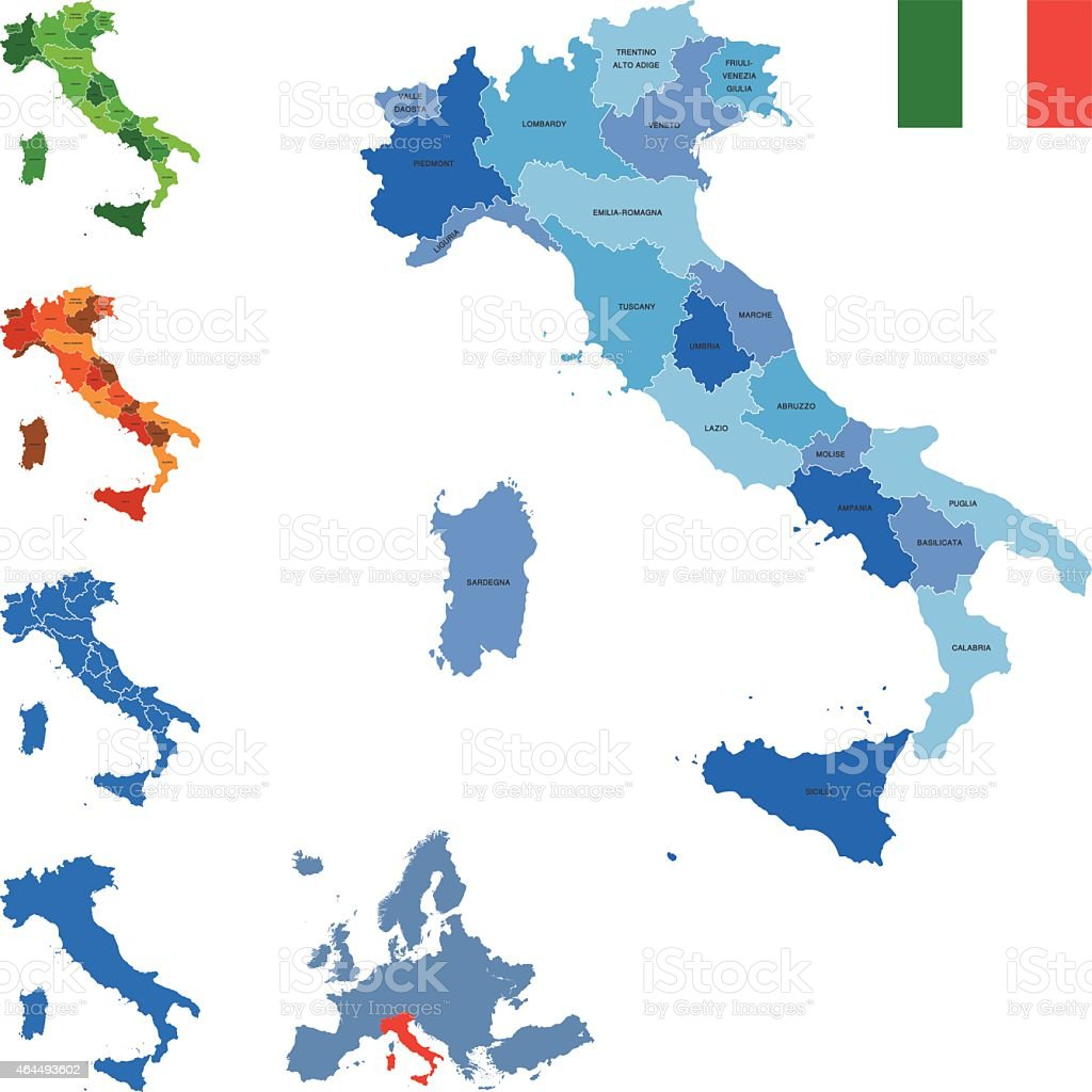 Italy map vector art illustration