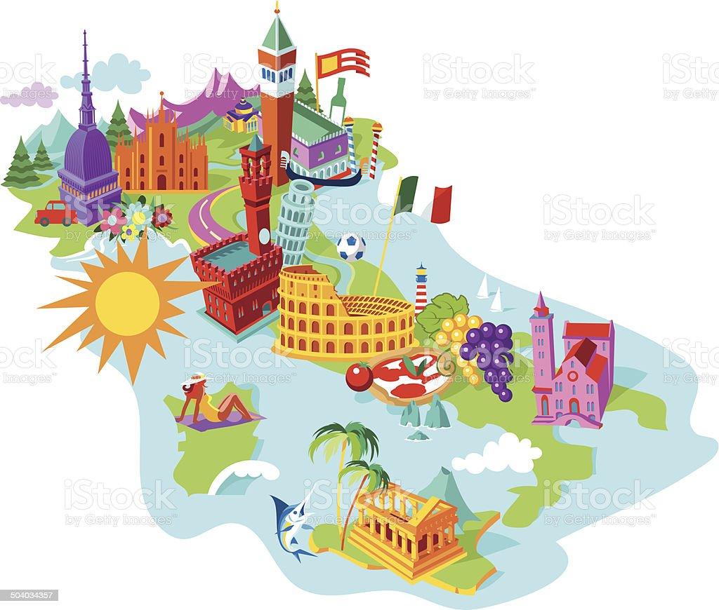 Italy Map vector art illustration