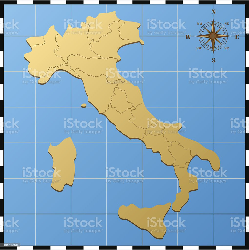 Italy map with compass rose vector art illustration