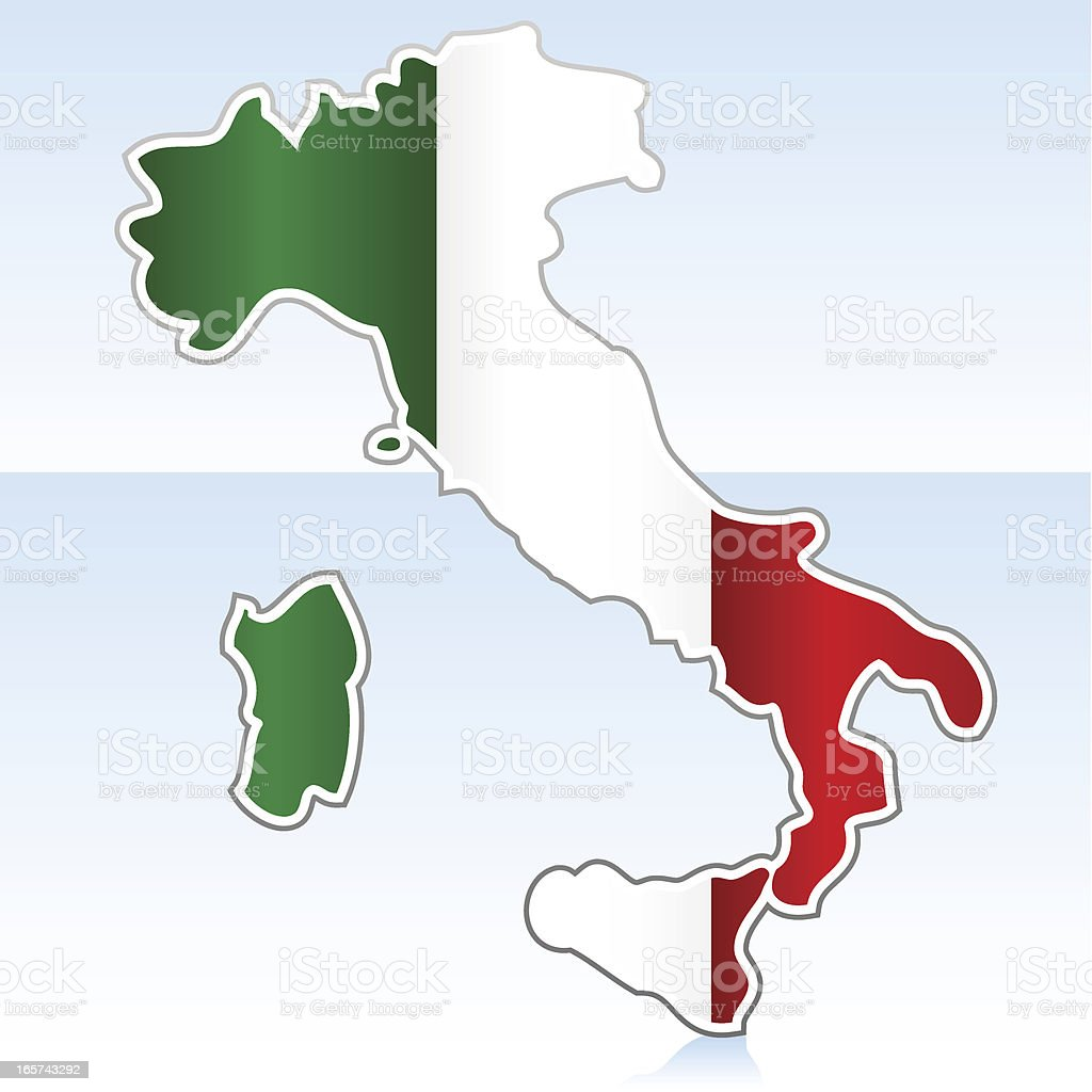 Italy map with flag royalty-free stock vector art