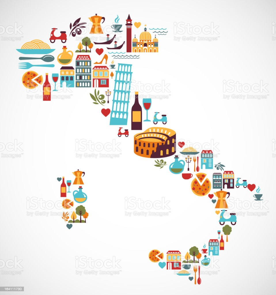 Italy map with vector icons vector art illustration