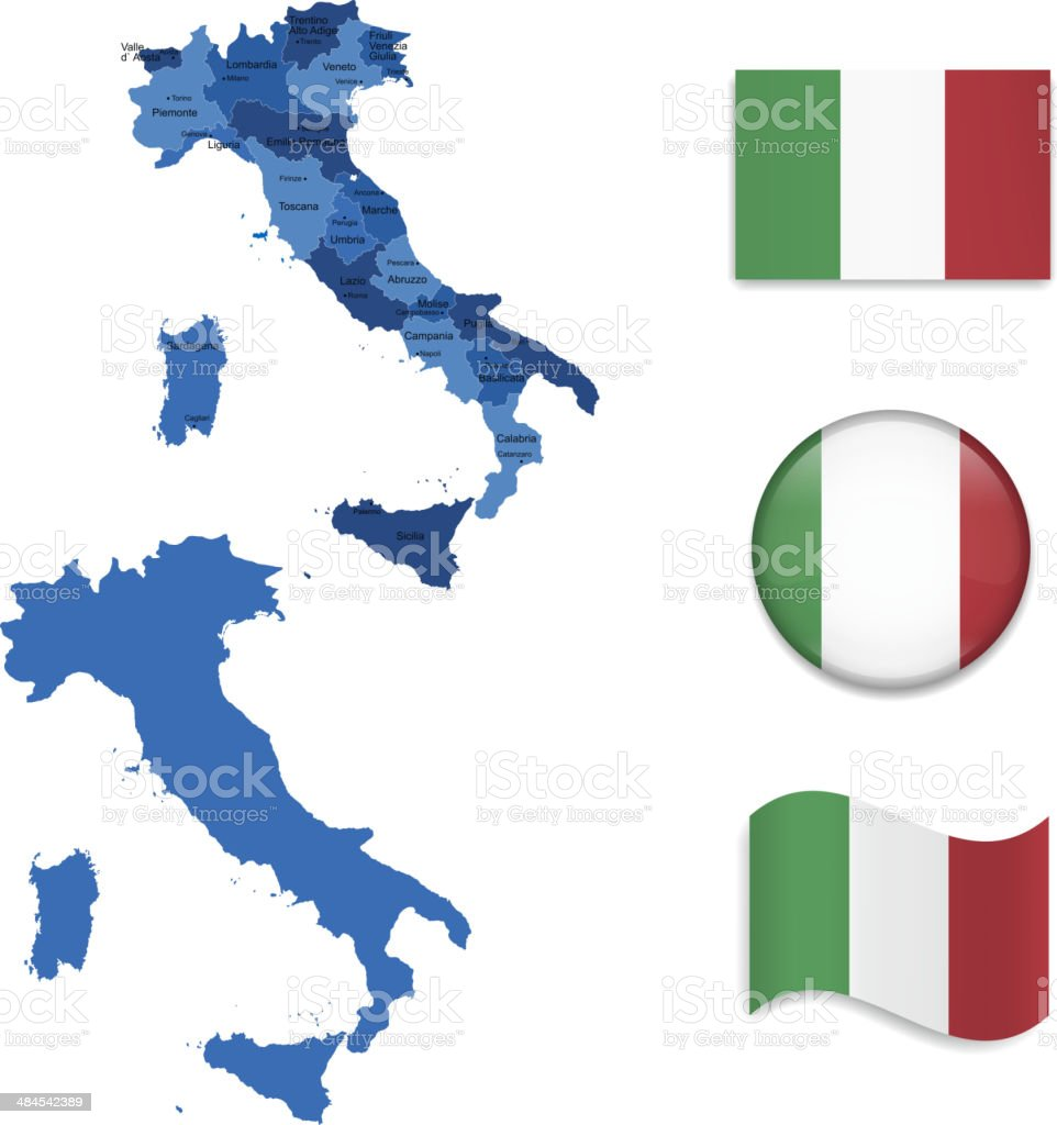 Italy Maps and Flags Collection royalty-free stock vector art
