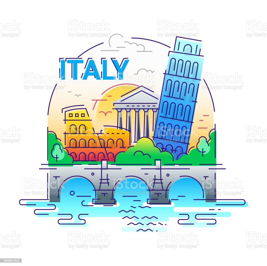 Italy - modern vector line travel illustration vector art illustration