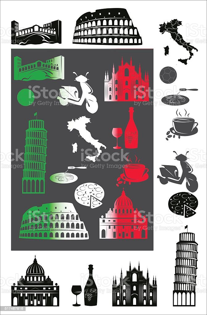 Italy picture and b-w hallmarks vector art illustration