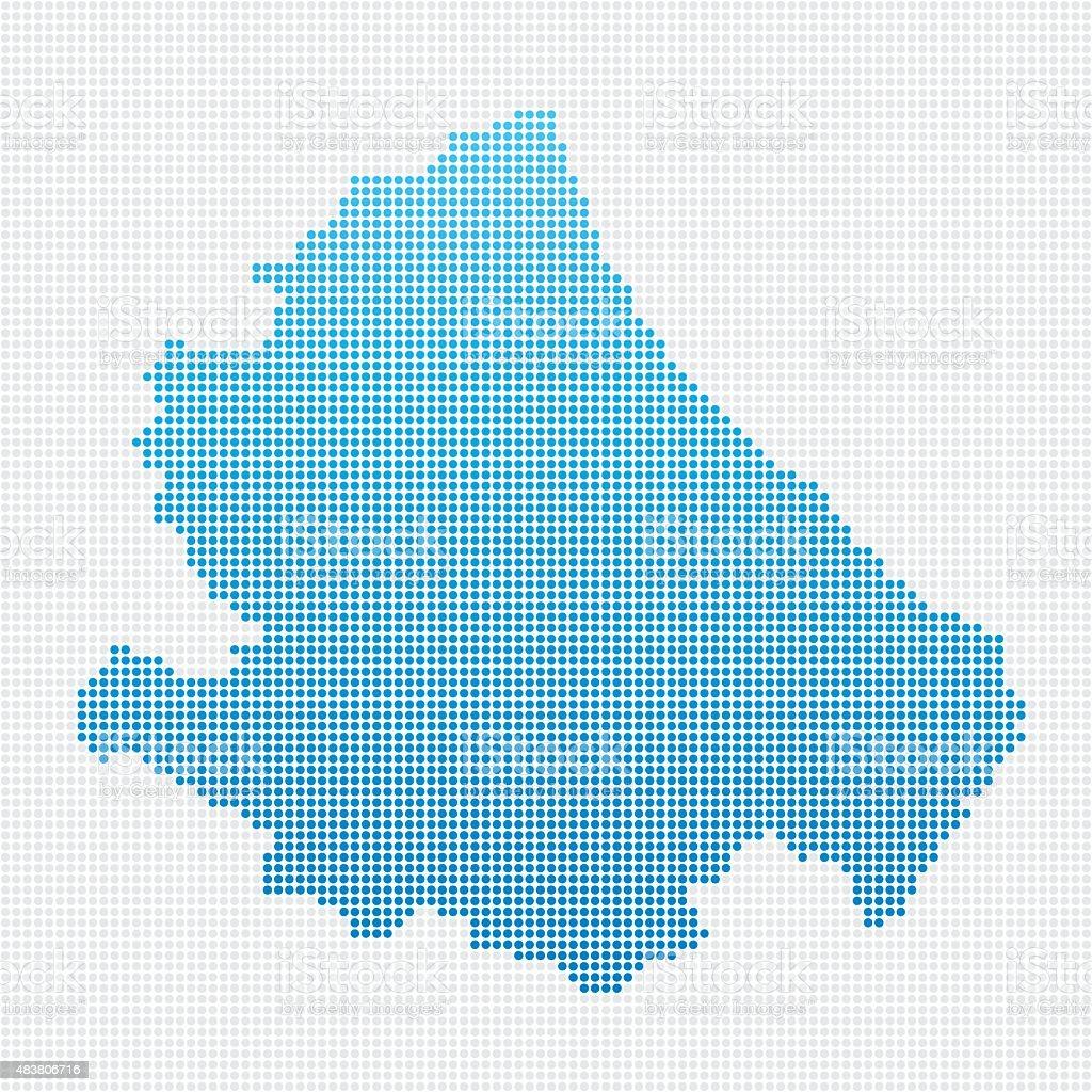 Italy Regions Abruzzo Map Blue Dot Pattern vector art illustration