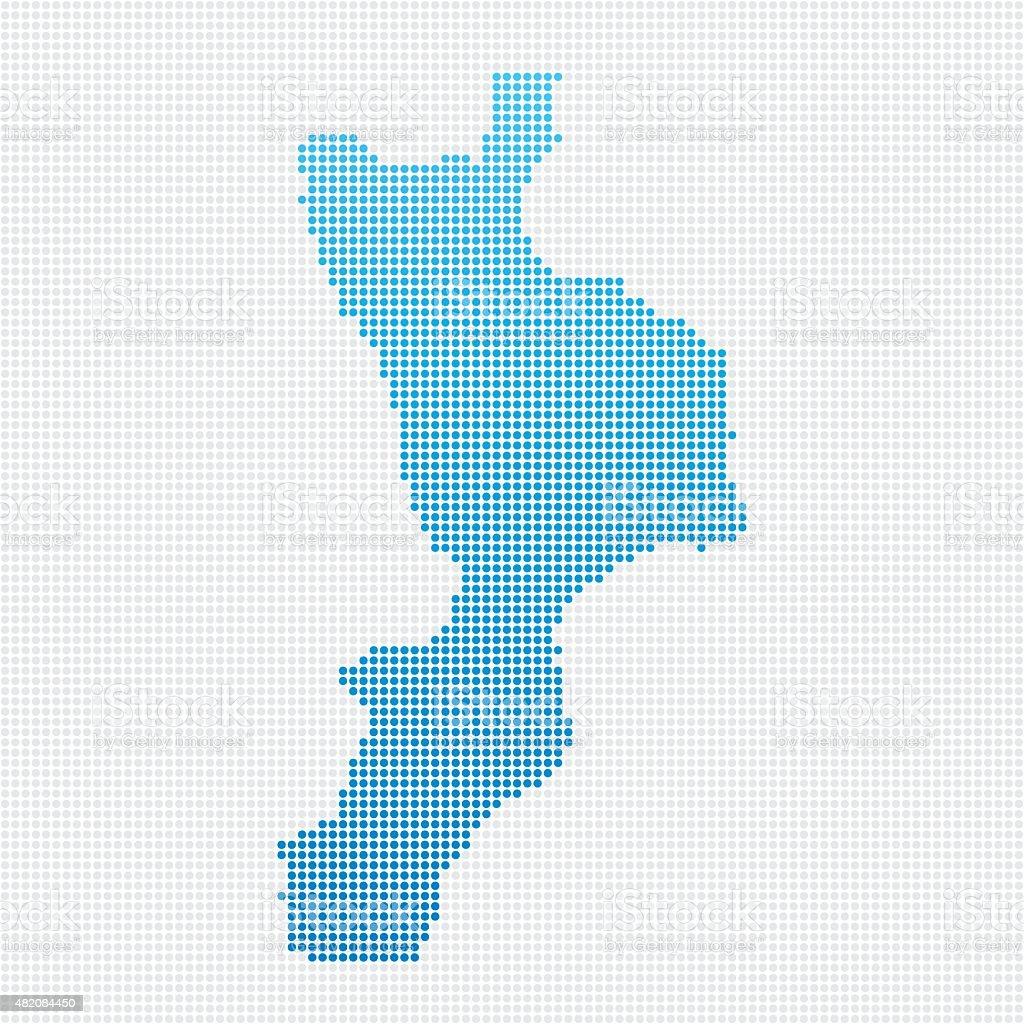 Italy Regions Calabria Map Blue Dot Pattern vector art illustration