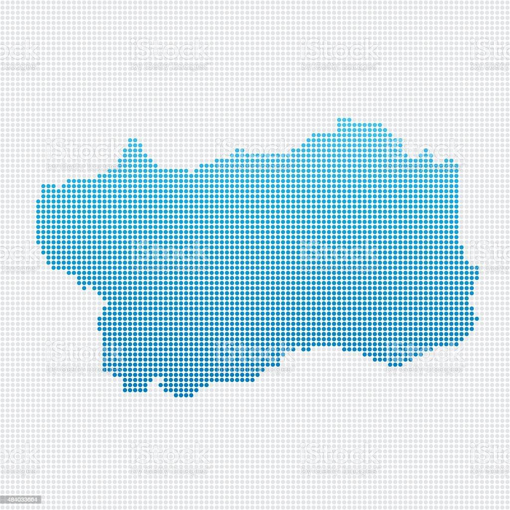 Italy Regions Valle d'Aosta Map Blue Dot Pattern vector art illustration