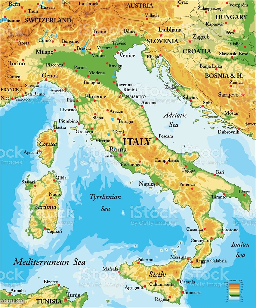 Italy relief map vector art illustration