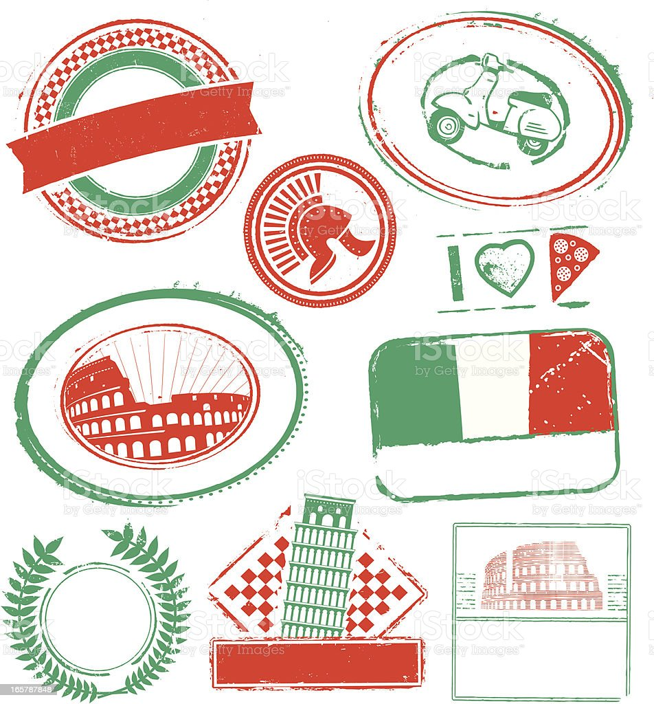 Italy Rubber Stamps royalty-free stock vector art