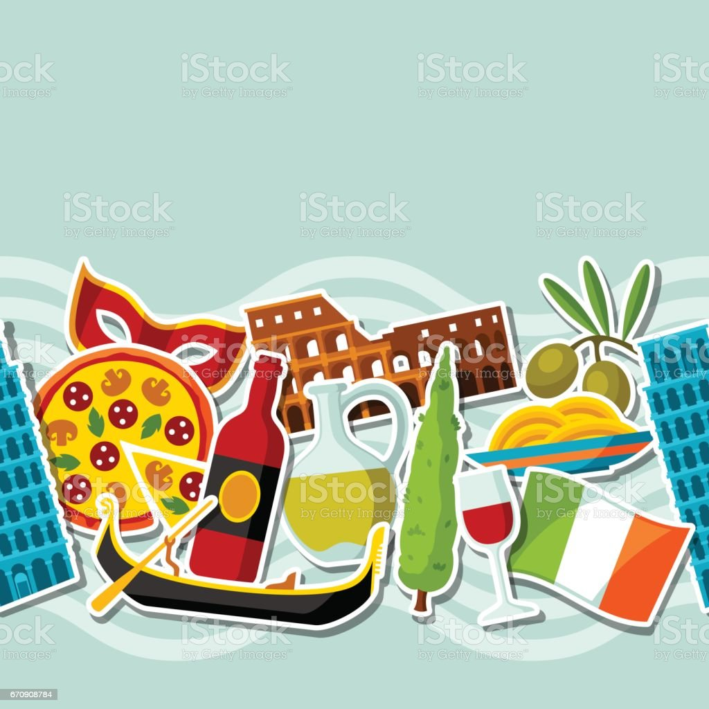 Italy seamless pattern. Italian sticker symbols and objects vector art illustration