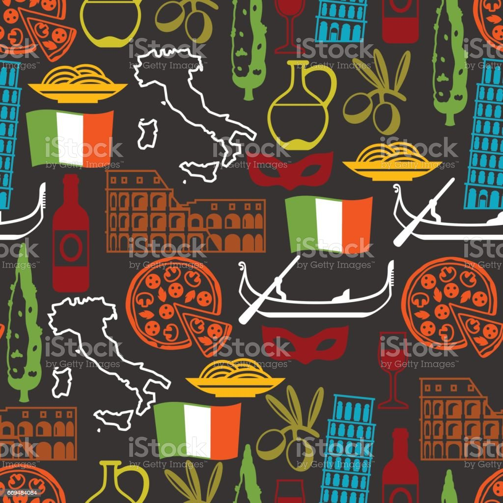 Italy seamless pattern. Italian symbols and objects vector art illustration