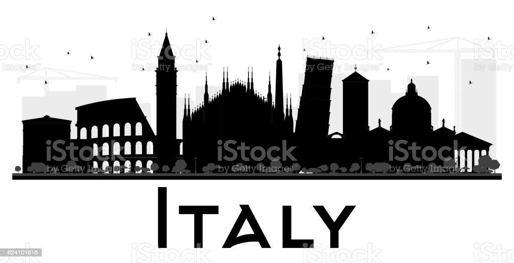 Italy skyline black and white silhouette. vector art illustration
