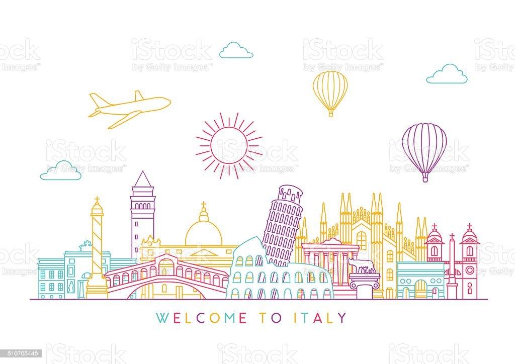 Italy skyline. Vector line illustration. Line style design vector art illustration