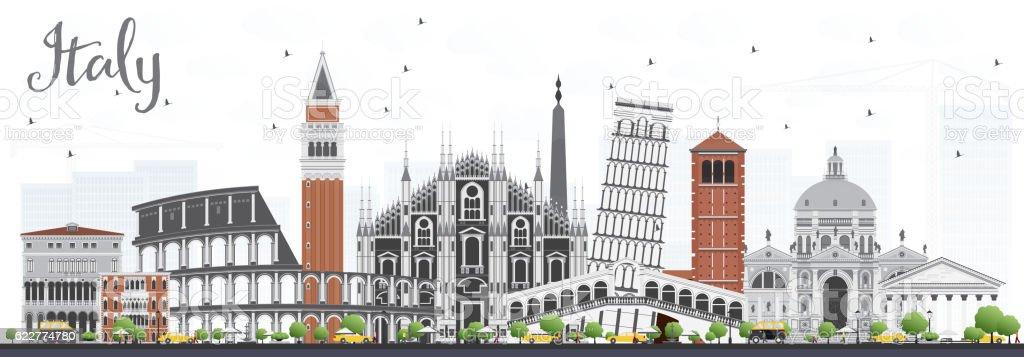 Italy Skyline with Landmarks. vector art illustration