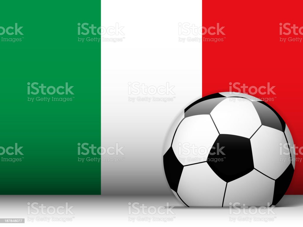 Italy Soccer Ball with Flag Background royalty-free stock vector art