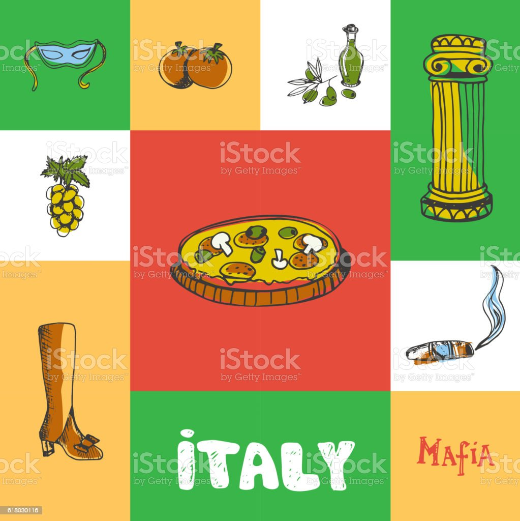Italy Squared Doodle Vector Concept vector art illustration