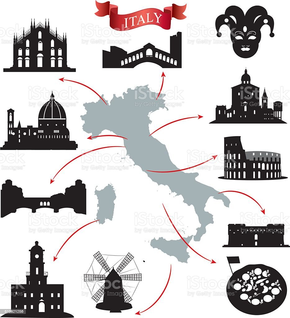 Italy Stamps vector art illustration
