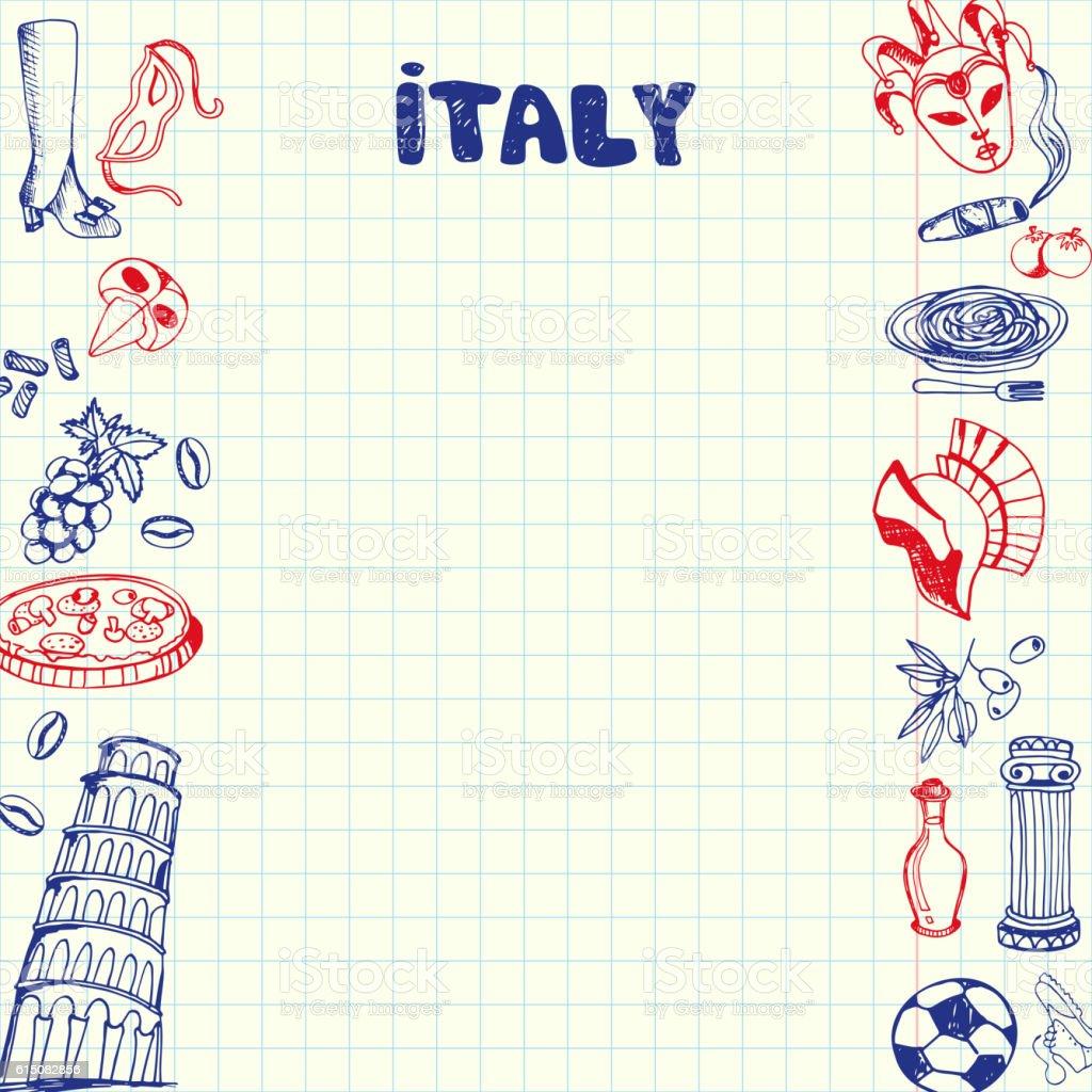 Italy Symbols Pen Drawn Doodles Vector Collection vector art illustration