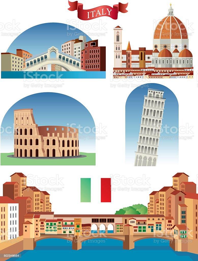 Italy Symbols vector art illustration