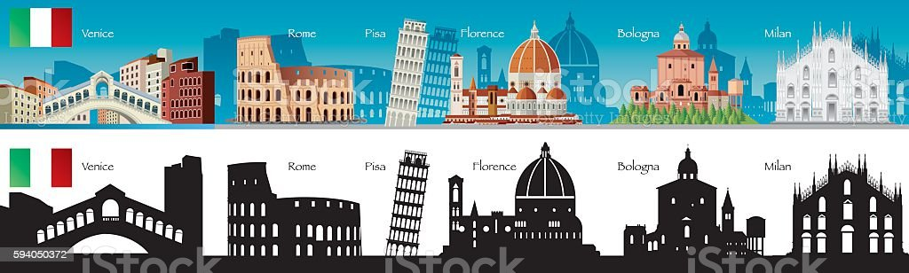 Italy Symbols vector art illustration