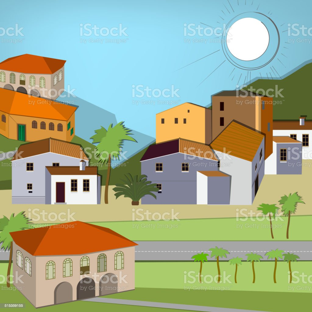 Italy town landscape vector art illustration